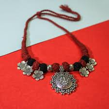 fashion pendant necklace images Oxidised silver ganesha pendant necklace with floral motifs jpg
