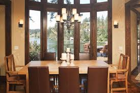 craftsman dining room with chandelier u0026 high ceiling in lake