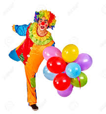 balloons clown happy birthday clown holding bunch of balloons and shows clown