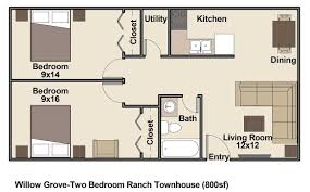 two bedroom townhouse floor plan low income housing clifton co willow grove community