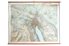 Wall Map Large Wall Map Of A District Of Zurich From Orell Füssli 1956 For