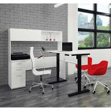 digital height adjustable l shape desk with hutch white