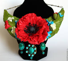 Vase With Red Poppies Buy Necklace With Poppies Poppy From Polymer Clay Imperial Jasper