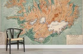 map mural iceland vintage map mural muralswallpaper co uk