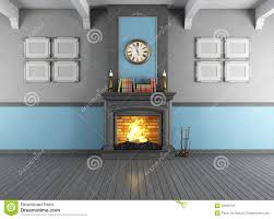 vintage room with fireplace stock illustration image 34520703