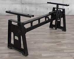 Oak Top Dining Table Industrial Wood Metal Industrial Cast Iron Crank