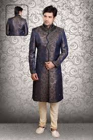 wedding dress indo sub marriage sherwanis from indian online buy blue indo western sherwani