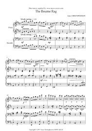 the bourne rag piano duet sheet by christopherson