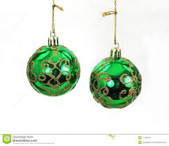 hanging green and gold tree balls stock image image