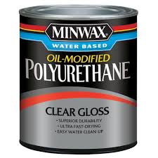 clean polyurethane minwax 1 qt clear gloss water based oil modified polyurethane