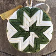 handmade no sew quilted ornament in ivory quilted ornaments