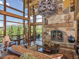 log and stone colorado ski chalet with great room