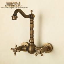 Antique Brass Kitchen Faucet Antique Brass Wall Mount Kitchen Faucet Mixer Tap Dual Handle