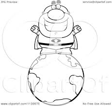 cartoon clipart of a black and white bald super hero on the earth