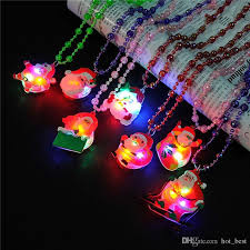 flashing christmas light necklace 2017 flashing necklaces led colorful light pendant santa claus tree