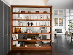 contemporary low bookcase half wall room divider ideas