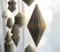 hanging book sculpture bicone folded books