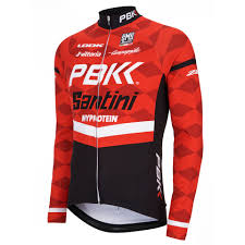 red cycling jacket pbk santini replica team long sleeve jersey red white black