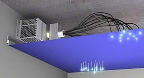 syst罟me d 罠clairage 罌 fibres optiques pour plafond tendu
