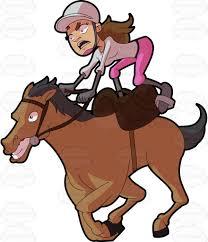 a female jockey riding a crazy horse horse cartoon