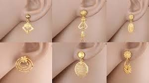 gold earrings design with weight gold earrings design ideas daily wear simple earrings