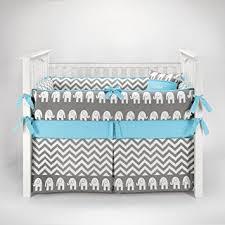 amazon com elephant chevron zig zag gray u0026 blue baby bedding