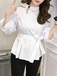 keyhole blouse casual balloon sleeve bow keyhole blouse popjulia com