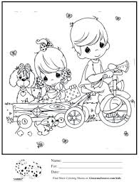 kids coloring page boy trike pulling wagon coloring sheet
