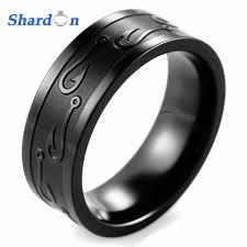 rings titanium black images Shardon gent 39 s 8mm pipe black titanium black and textured fish jpg