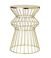 gold metal side table target threshold faux shell inlay hexagonal accent table cream