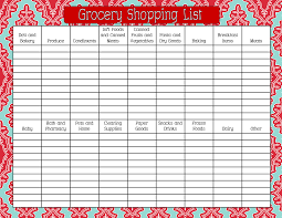 Word Grocery List Template Grocery Shopping Lists Grocery List Template