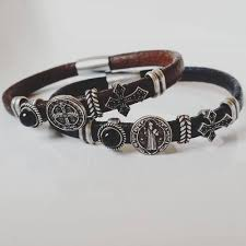 leather bracelet styles images St benedict leather bracelet with bronze charms four styles jpg