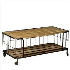 Rolling Coffee Table Rolling Coffee Table Wire Basket Reclaimed Wood Iron