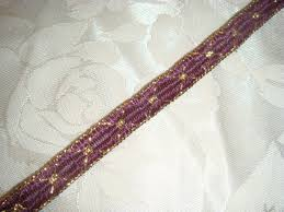 eggplant ribbon eggplant gold ribbon embroidered trim 3 8 wide