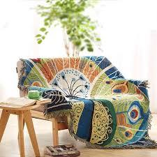 plaid coton canapé plaid paon couverture coton canapé coussin serviette sofa 130 170cm