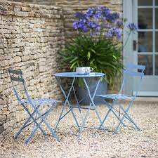 Blue Bistro Chairs Metal Bistro Set Of Table Two Chairs In Dorset Blue Bistro Set