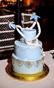 3 tier wedding cake disney inspired with fondant blue floral