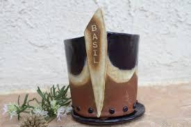 basil planter ceramic herb planter handmade flower pot outdoor