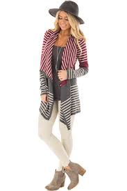 Open Drape Cardigan Sweater Burgundy And Charcoal Striped Open Drape Cardigan Lime Lush Boutique