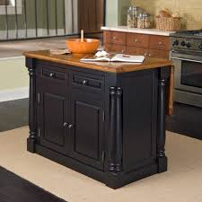 Wood Tops For Kitchen Islands by Home Styles Monarch Black Slide Out Leg Wood Top Kitchen Island