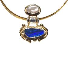 blue opal necklace natural australian opal designer collection for sale