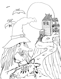 halloween witches and black cats coloring pagefree printable