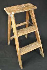 vintage folding step ladder wooden step stool wood side table book