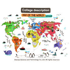 Diy World Map by Animals Colorful World Map Kids Bedroom Diy Wall Sticker Art Decal