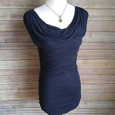 Draped Neckline Tops Express Express Navy Blue Ruched Sleeveless Drape Neck Top From