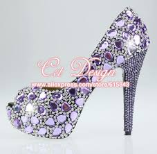 Comfortable High Heels For Wedding Handmade Fashion Women Shoes Sparkly Crystal Purple Dress Shoes