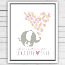 baby shower sign in elephant baby shower guestbook thumbprint guestbook baby