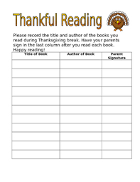thankful reading log freebie by out of second grade tpt