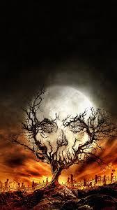 digital art portrait display nature trees skull moon stars