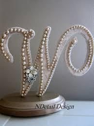pearl monogram cake topper wedding monogram cake topper letter ivory pearl topper rustic